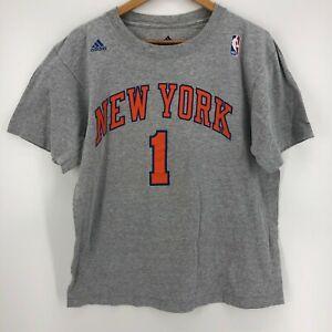 Adidas T-Shirt Men's L Gray New York Knicks #1 Stoudemire NBA Basketball