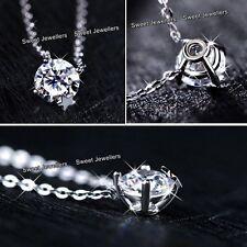 925er Silber Sternen Kristall Anhänger Halskette Liebe Weihnachten Schmuck