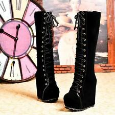 Ladies Goth Platform Wedge High Heels Faux Suede Lace Up Knee High Boots Size 39
