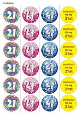 24X PRECUT 21ST BIRTHDAY, EDIBLE WAFER PAPER, CUPCAKE, CAKE TOPPERS 1121