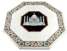"""12"""" White Marble Table Top Inlay Stone Tajmahal Mosaic Floral Living Decor H627"""