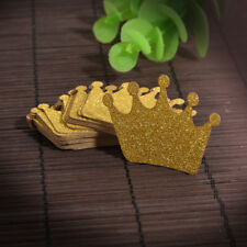 Cute DIY 24 Gold Glitter Crown Cupcake Toppers Wedding Picks Party BABY SHOWER