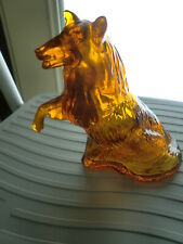 Avon Faithful Laddie Collie Dog Decanter Amber Glass 1970s Vintage