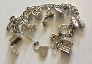 Beautiful Quality Ladies Vintage Heavy Solid Silver Charm Bracelet & Charms