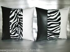 "2 White & Black Faux Leather Velboa Faux Fur Zebra Cushion Covers 16"" 18"" 20"""