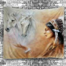 Horse African Girl Print Tapestry Wall Home Tapestry Bedspread Throw Room Decor