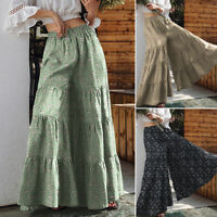 Womens Elastic Waist Wide Leg Baggy Trousers Casual Loose Palazzo Culottes Pants