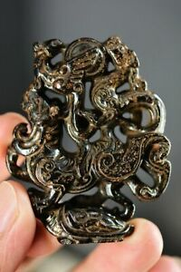 Rare Chinese Black Old Jade Hand-carved *Dragon&Beast&Turtle* Pendant D19