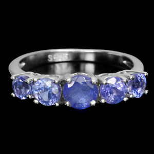 Unheated Round Tanzanite 5mm 14K White Gold Plate 925 Sterling Silver Ring Sz 7