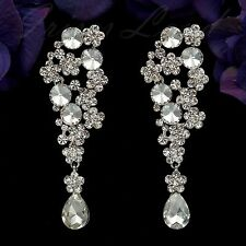 Rhodium Plated Clear Crystal AB Flower Wedding Bridal Drop Dangle Earrings 08310