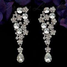 Rhodium Plated Clear Crystal AB Flower Wedding Bridal Drop Dangle Earrings 08310