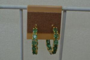 3.48ct Kagem Zambian Emerald Inside Out Hoop Earrings 14K YG over Fine Silver