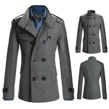 Men Coat Double Breasted Pea coat Long Jacket Winter Dress Overcoats Tops