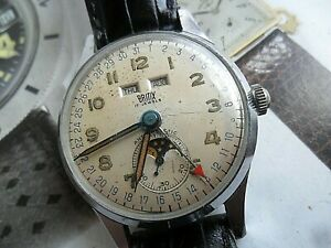 Vintage 1940's Men's Britix 17J Moon Phase Triple Date Calendar Swiss Watch