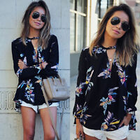 Sexy Women Chiffon Floral Embroidered Long Sleeve Blouse Casual T-Shirt Tops