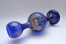 Stunning  Antique Bohemian Hand Blown/decorated Cobalt  Art Glass Enamelled Vase