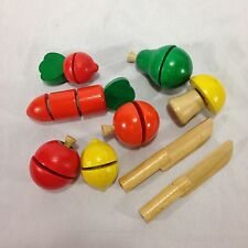 Wooden Fruit Vegetables Kitchen Slice Cut Educational Toy For Kids