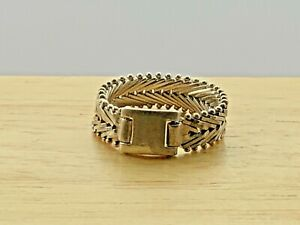 Vintage Solid Sterling Silver Twisted Braided Belt Buckle Band Ring 4.7g Size T