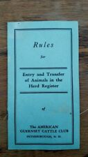 1937 American Guernsey Cattle Club Rules Entry & Transfer in Herd Register Cow