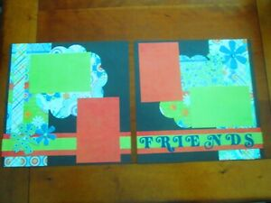 PREMADE SCRAPBOOK PAGES - FRIENDS - 2 12 X 12 PAGES - NEW