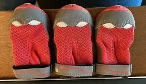 "3 Ruffwear Grip Trex All Terrain Dog Boots Vibram - RED Size 2.25"""