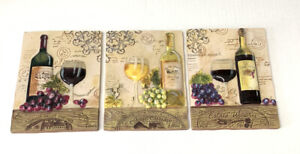 3D Ceramic Kitchen Wall Plaques Wine Bottles Grapes Vineyard Lot of 3