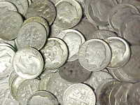 Roll Roosevelt 90% Silver Dimes 1940s-1964 $5 Face Value 90% Silver 50 Dimes