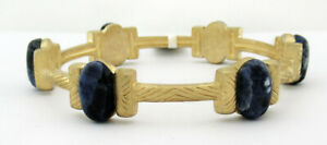 GENUINE 18.42 Cts LAPIS LAZULI BRACELET 14K YELLOW GOLD PLATED * New With Tag *