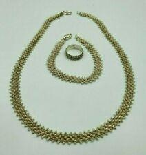Beautiful Vintage Solid Silver Filigree Necklace, Bracelet and Ring Set