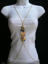 Metal Square Chain Necklace Fashion Jewelry New Women Sexy Rose Gold Body Pewter