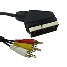 5m de largo 21 Pin SCART A Fono Fonos RCA 3 tres Video Y Audio Cable de Alambre de plomo