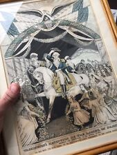 Original Currier Lithograph framed 1845 George Washington entering Trenton