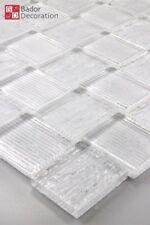 Mosaico de Cristal Azulejos blanco Silberne RAYAS 1m ²