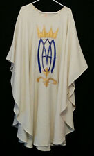 Natural White MARIAN CHASUBLE Catholic Priest Vestments Church Clergy Apparel
