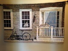 """Weathered Beach House Bicycle 34""""x52"""" Jacquard Woven Tapestry Wall Hanging NEW"""