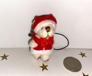 TINY 4.5cm **SANTA TEDDY BEAR** For Dollhouse or Keyring *GORGEOUS! *GREAT GIFT*