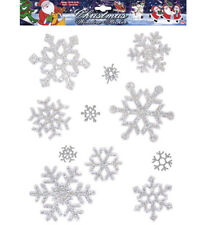 11 Iridescent Snowflakes Window Stickers Christmas Xmas Party Decorations