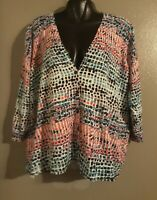 WOMAN'S AVENUE SOFT 3/4 SLEEVE BUTTON DOWN MULTICOLOR BLOUSE.SIZE 22/24