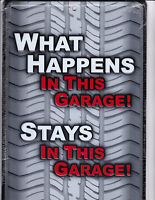 What HAPPENS in this GARAGE ,  STAYS in this Garage ..  8x12 metal sign