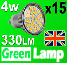 15 x GU10 24 SMD 5050 LED Bulb = 60W HALOGEN with cover glass 3000K Warm White