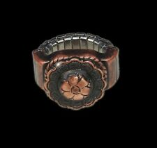 Western Decorament Antiqued Copper Flower Adjustable Concho Ring/Scarf Slide Kit