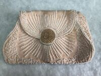 1920s French Antique Bag Beaded Wrist Purse Evening Bag Pink Silk White Glass