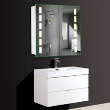 2 Mirror Door Bathroom Cabinet LED Light Shaver Socket Bluetooth Motion Mirrored