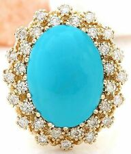 9.60 Carat Natural Turquoise 14K Solid Yellow Gold Diamond Ring