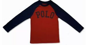 New Polo Ralph Lauren Long Sleeve T-shirt Top Red / Navy Sleeves Age 6 120