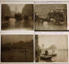 CRUE DE LA SEINE PARIS 1910 19 PLAQUES VERRE STEREO 6x13 VUES STEREOSCOPIQUES