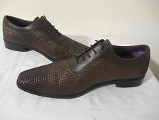 PAUL DRISH Corey Oxford Men's Brown Woven NAPPA Leather Shoes Size 10 ½