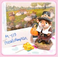 ❤️Wee Forest Folk M-118 Peter's Pumpkin Thanksgiving Pilgrim Retired Mouse WFF❤️
