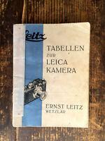 Leitz Tabellen zur Leica Kamera Prospekt - Text.deutsch - Classic-Camera-STORE