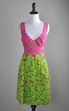 NANETTE LEPORE $398 Vibrant Floral Print Open Back Pleated Lined Dress Size 8
